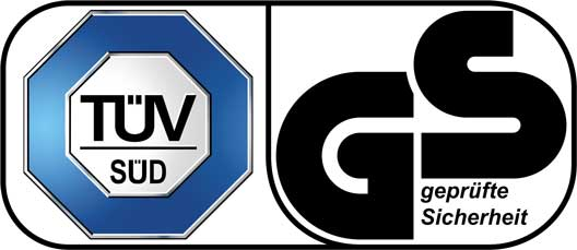 "TÜV Süd certification mark ""Geprüfte Sicherheit"" (GS / tested safety)"