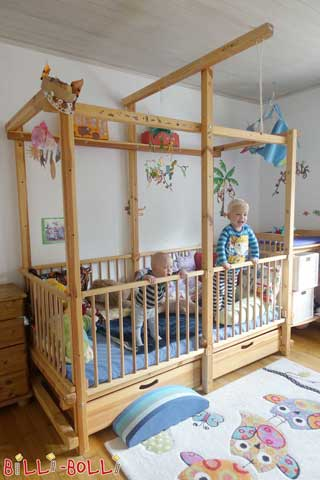 The Baby Crib with Bed Drawers for storage underneath. You can later convert the Baby Crib into one of the other bed types with one of our conversion sets, e.g. into a Loft Bed or a Bunk Bed.
