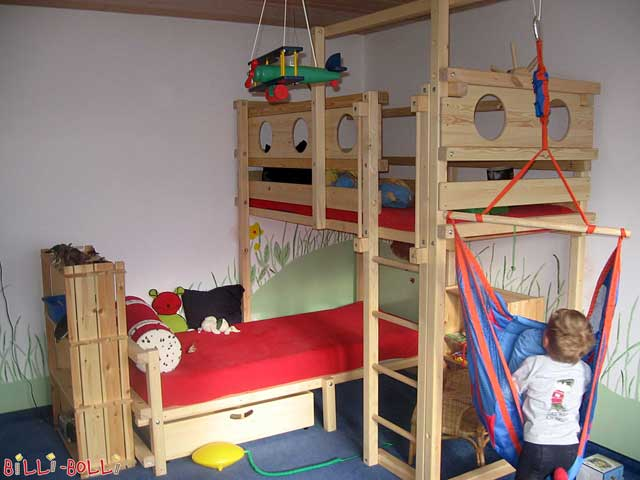 A Corner Bunk Bed. The swing beam has been placed lengthwise according to customer request.