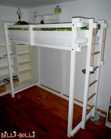 The Youth Loft Bed in white lacquered beech and with ladder position C.