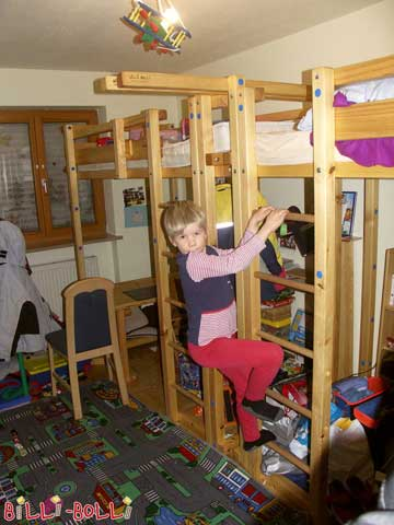 Two Youth Loft Beds, here with play crane.