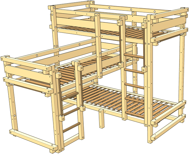 Included in the delivery Triple Bunk Bed Type 1A