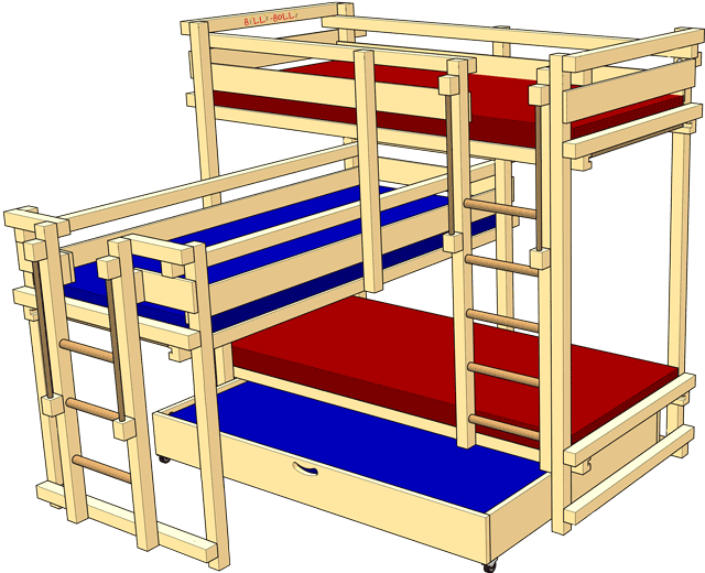 Triple Bunk Beds: high-riser for 3 kids, Bed for four