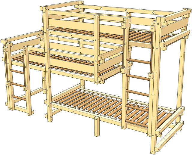 Included in the delivery Triple Bunk Bed Type 1B