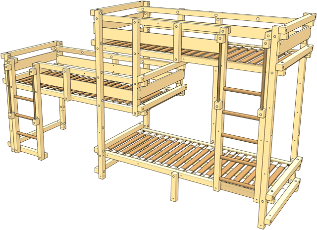 Included in the delivery Triple Bunk Bed Type 1C