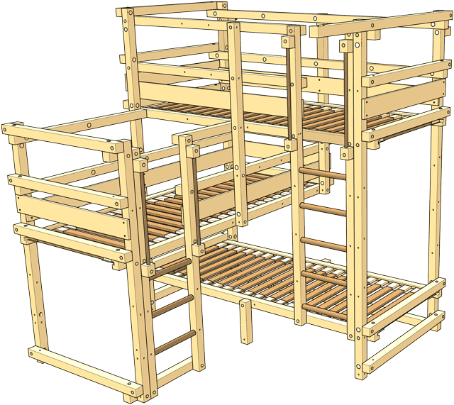 Included in the delivery Triple Bunk Bed Type 2A