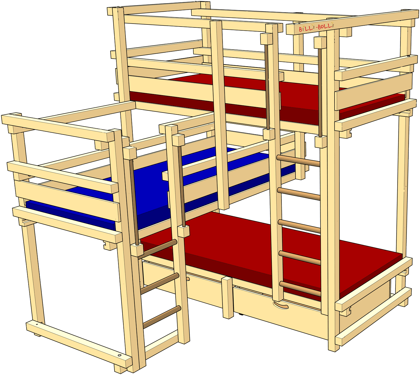 Triple Bunk Beds: high-riser for 3 kids (Kids' Beds)