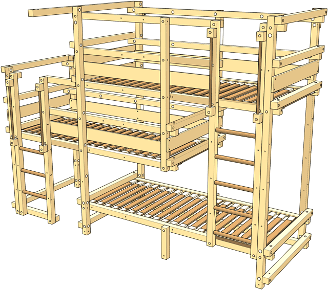 Included in the delivery Triple Bunk Bed Type 2B