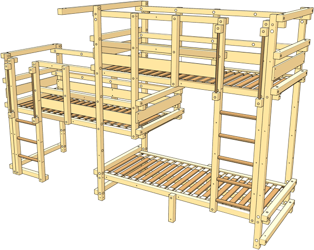Included in the delivery Triple Bunk Bed Type 2C