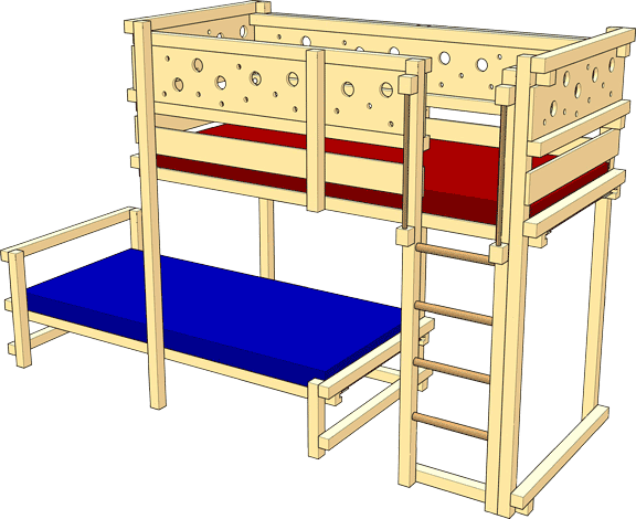 Bunk Bed Laterally Staggered – Tested safety (GS) by TÜV Süd