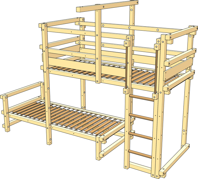 Delivery Bunk Bed Laterally Staggered