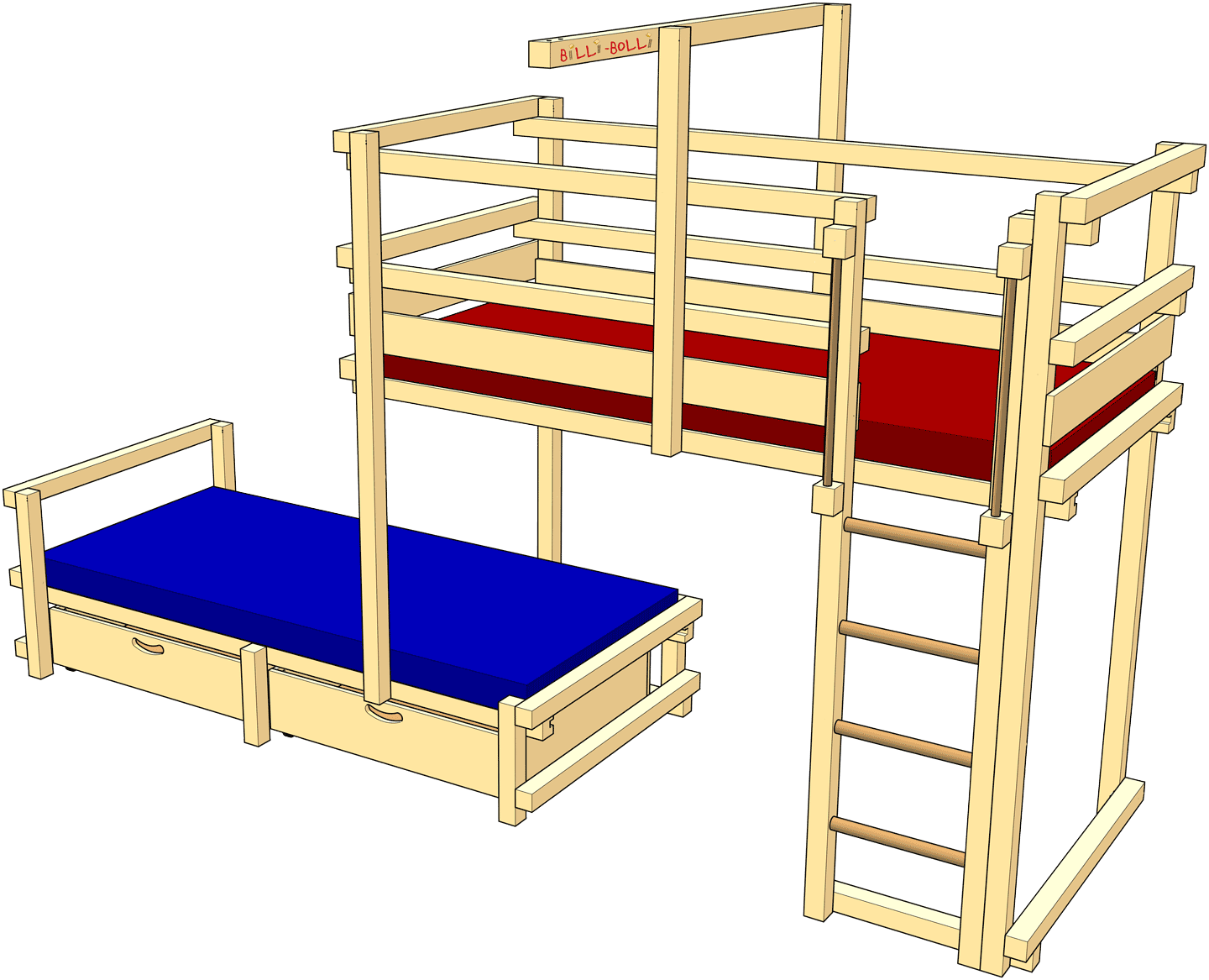 Bunk Bed Laterally Staggered