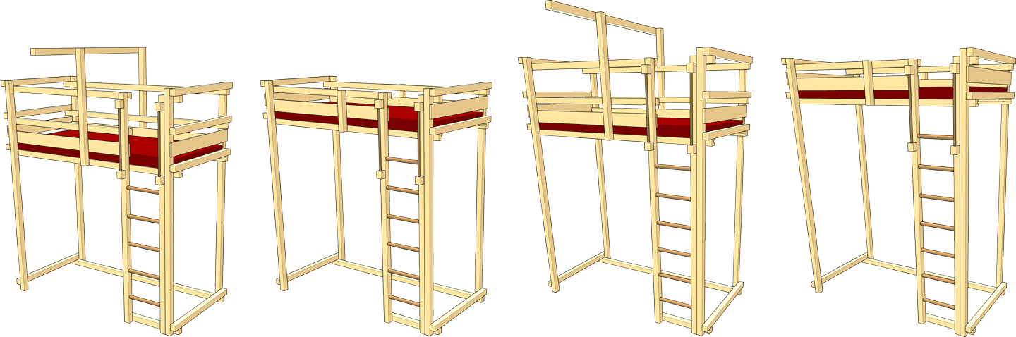 Loft Bed Adjustable by Age, Assembly heights 7 and 8.