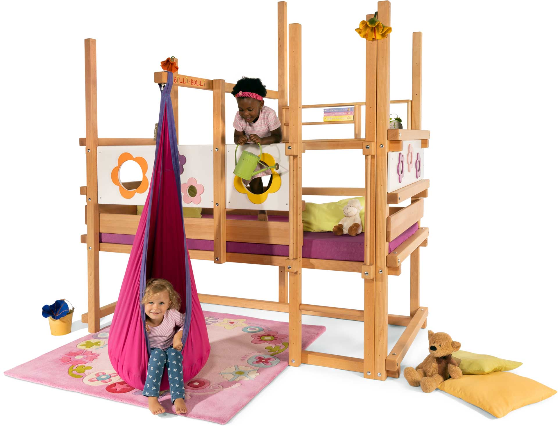 The Loft Bed Adjustable by Age in beech, assembled at height 3. Pictured with Flower Theme Boards, swing beam, Hanging Cave, Small Bed Shelf and mattress Nele Plus.