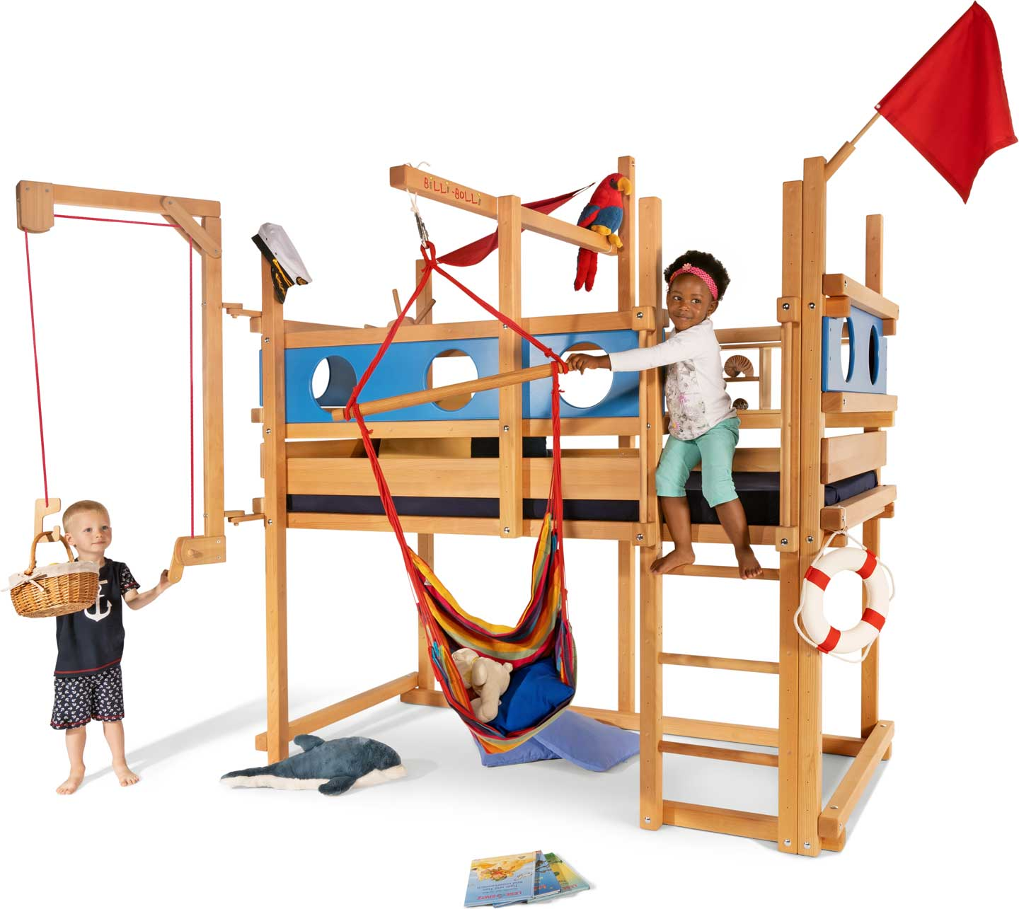The Loft Bed Adjustable by Age in beech, assembled at height 4. Pictured with Porthole Theme Boards varnished in blue, Play Crane, swing beam, Swing Chair, Helm, Small Bed Shelf, Flag and mattress Nele Plus.