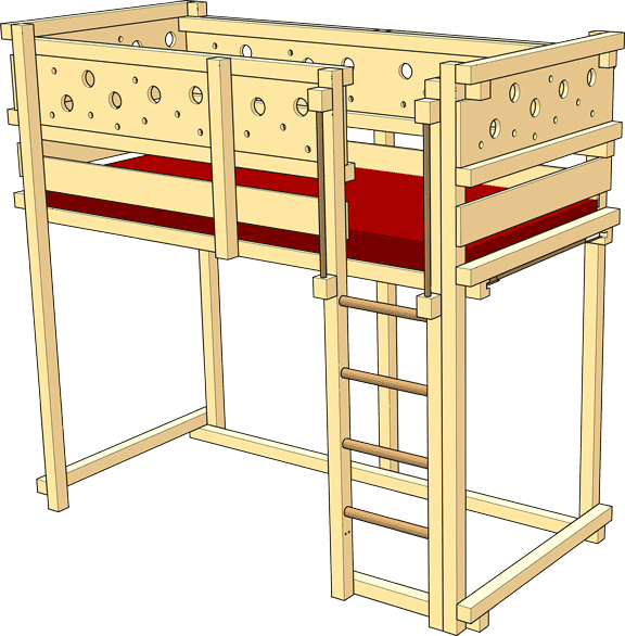 Loft Bed Adjustable by Age – Tested safety (GS) by TÜV Süd