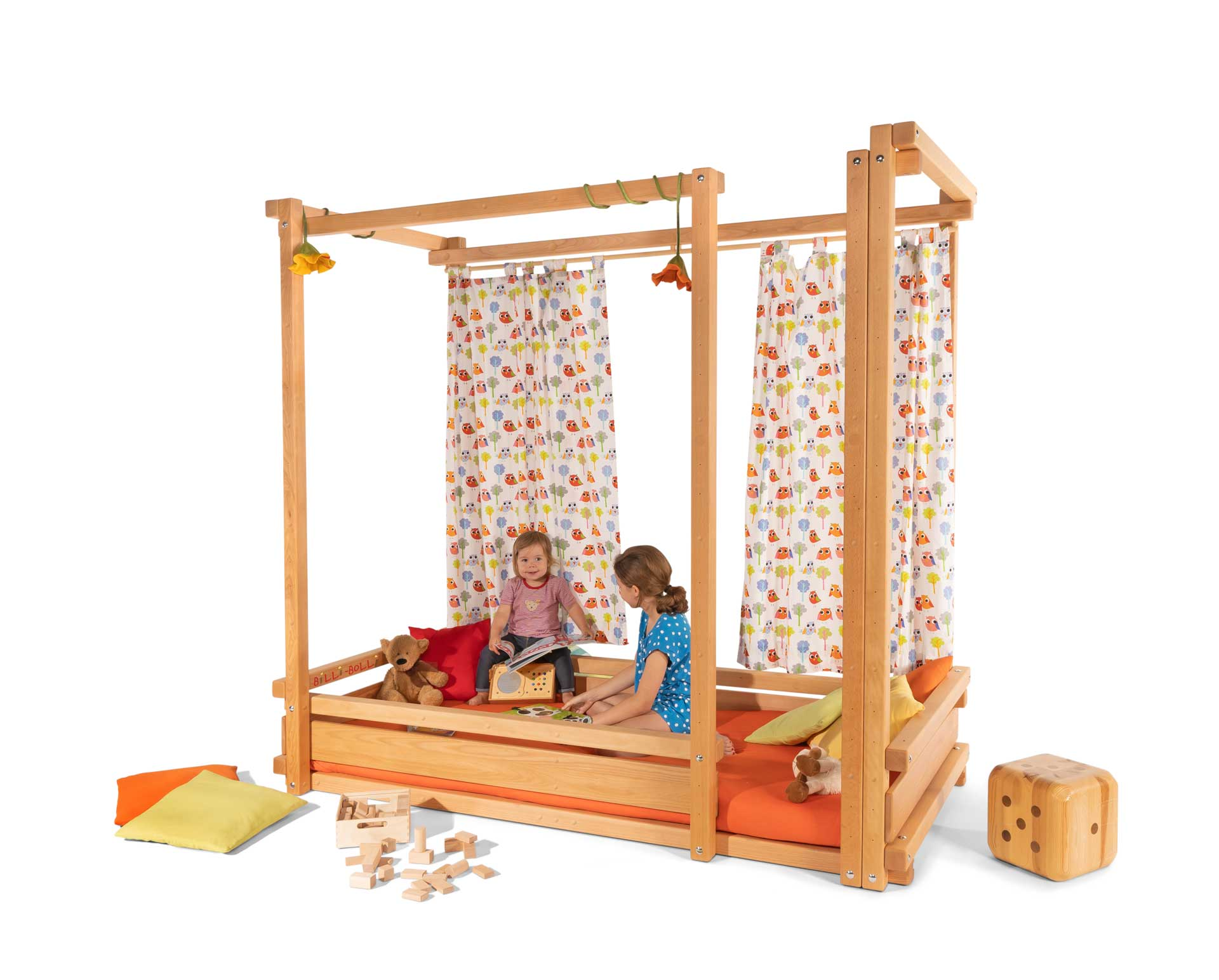 The Loft Bed Adjustable by Age in beech, assembled at height 1. Pictured with Curtain Rods and mattress Nele Plus.