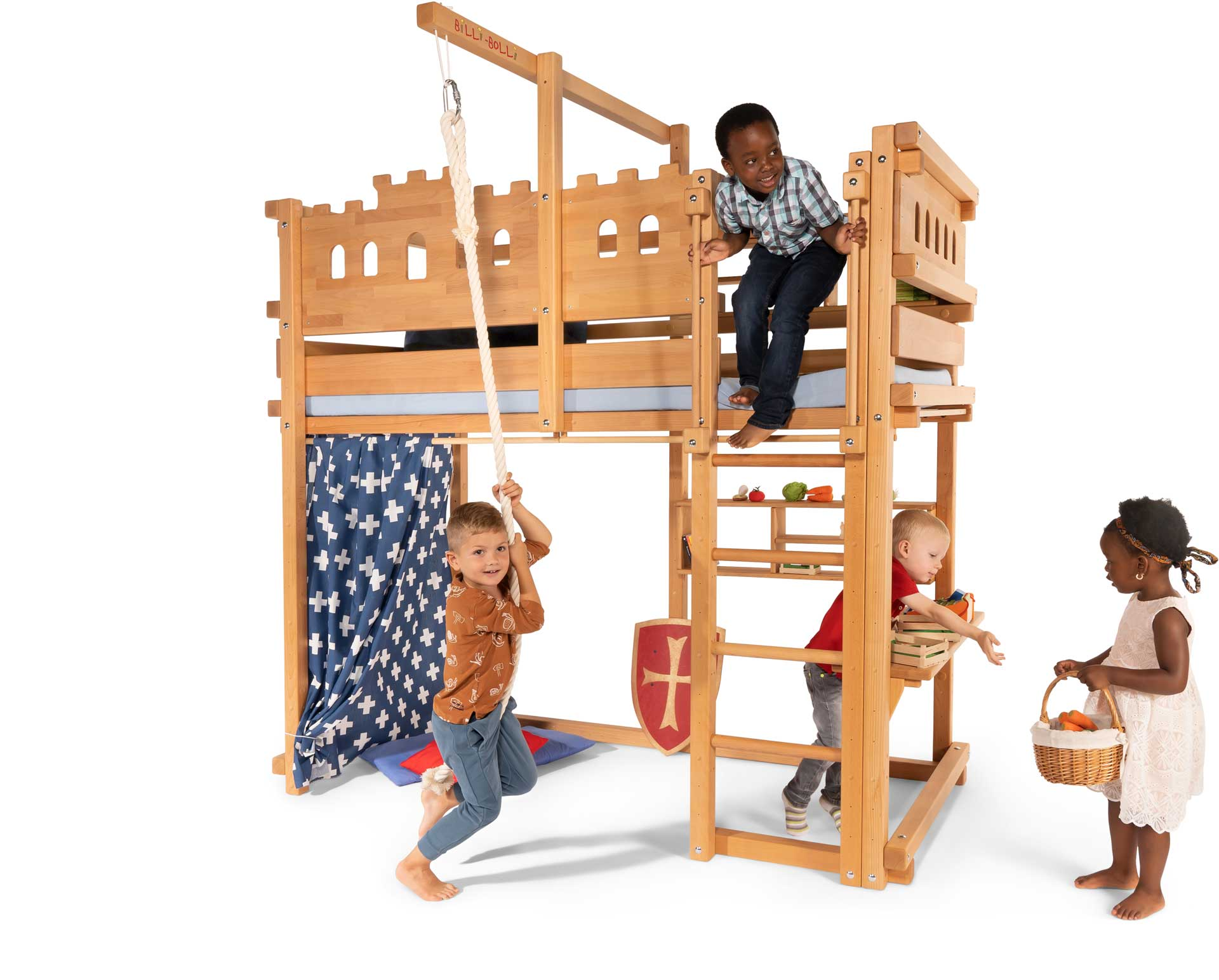 The Loft Bed Adjustable by Age in beech, assembled at height 5. Pictured with Knight's Castle Theme Boards, swing beam, Climbing Rope, Small Bed Shelf, Play Shop Shelf, Curtain Rods and mattress Nele Plus.