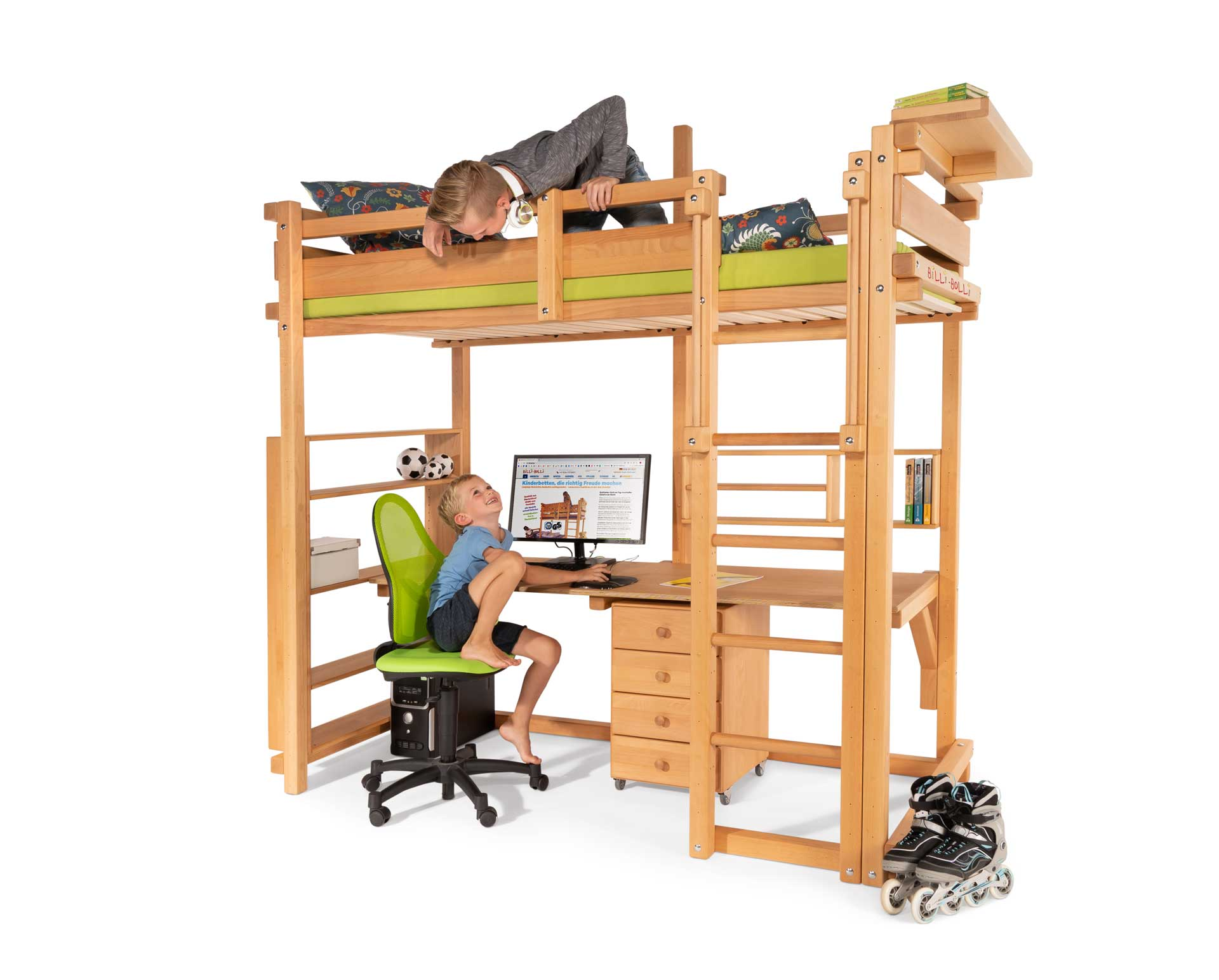The Loft Bed Adjustable by Age in beech, assembled at height 6. Pictured with Bedside Table, Large and Small Bed Shelf, Desktop, Mobile File Pedestal, kids' swivel chair Airgo Kid and mattress Nele Plus.