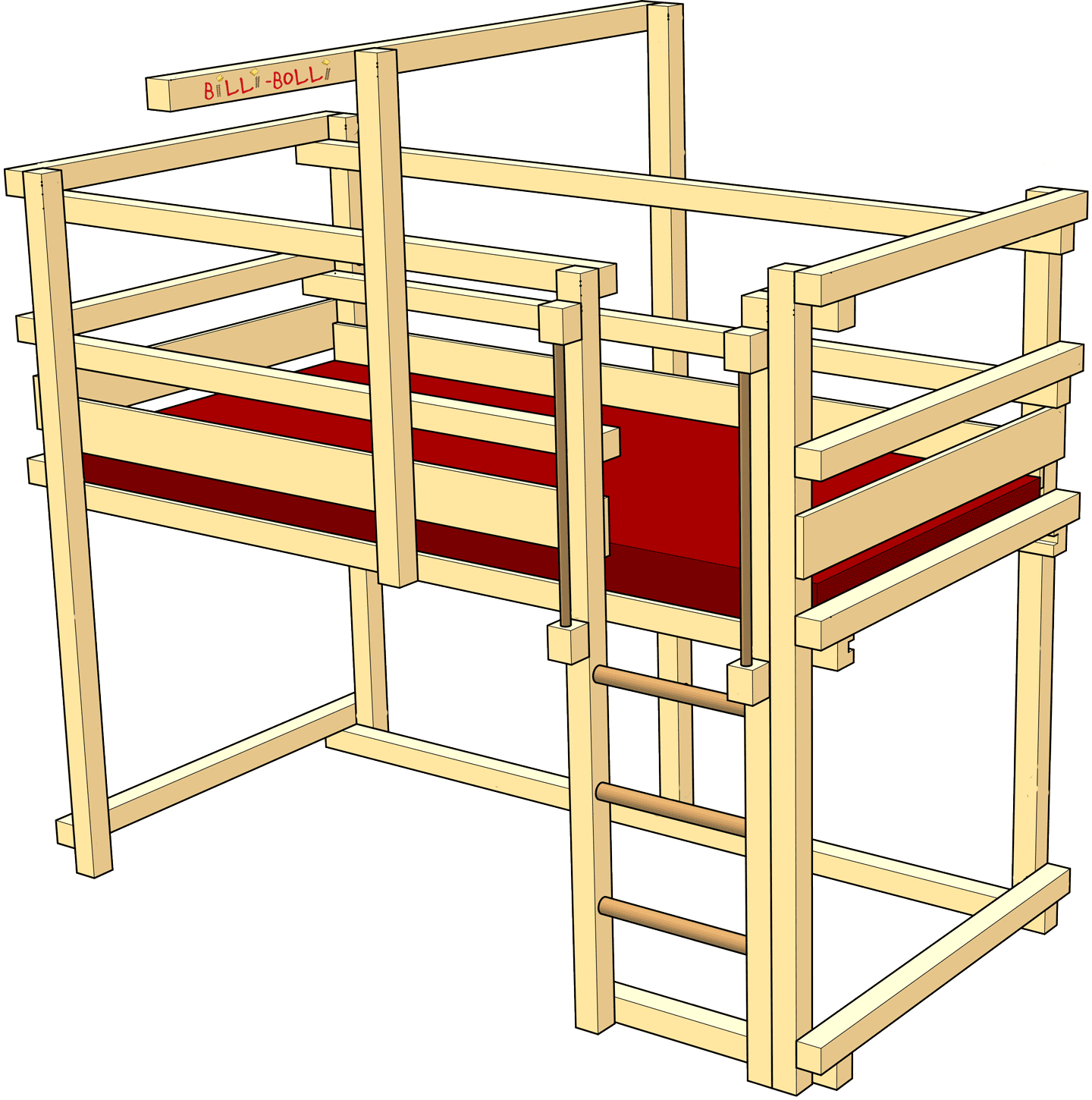 Low Loft Bed for low kids' rooms (Kids' Beds)