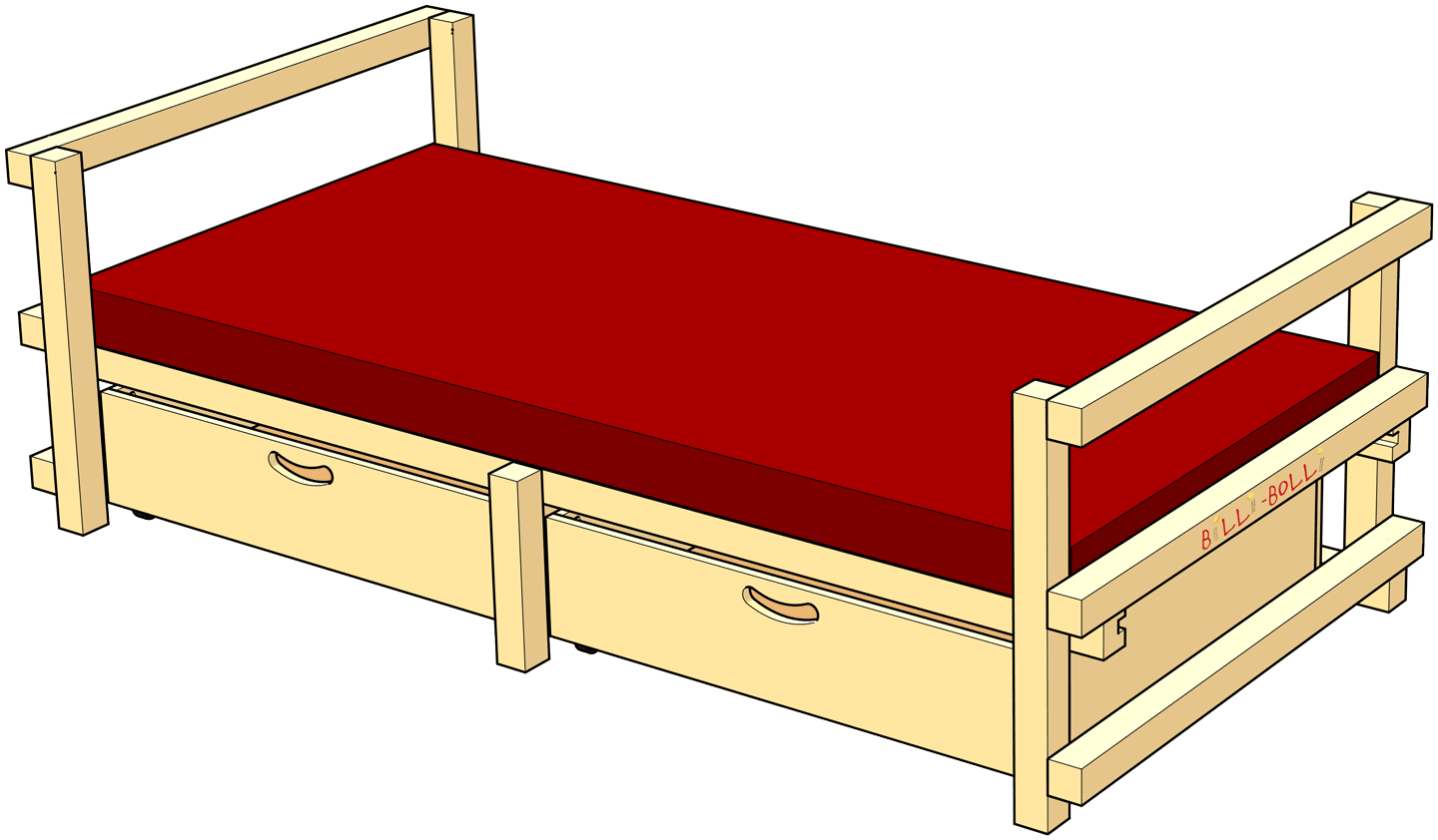 Low Youth Bed Type C: with tall sides