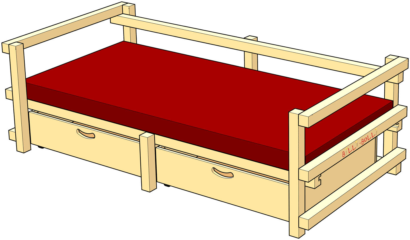 Low Youth Bed Type D: with tall sides and backrest