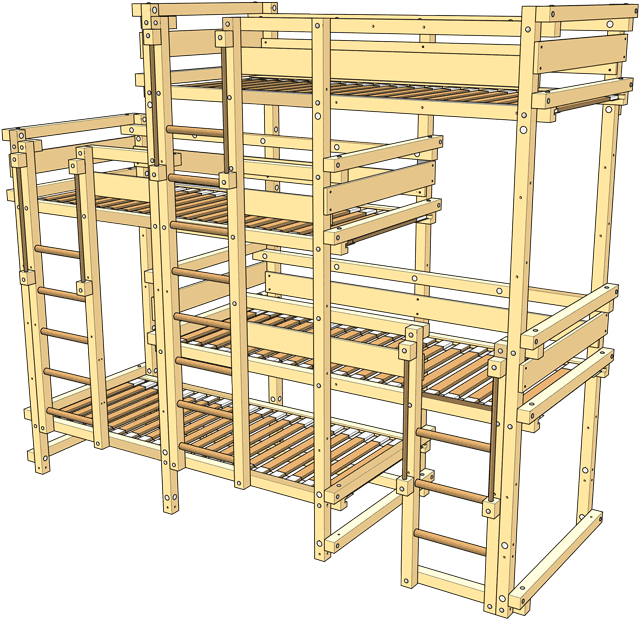 Delivery Bed Laterally Staggered for Four