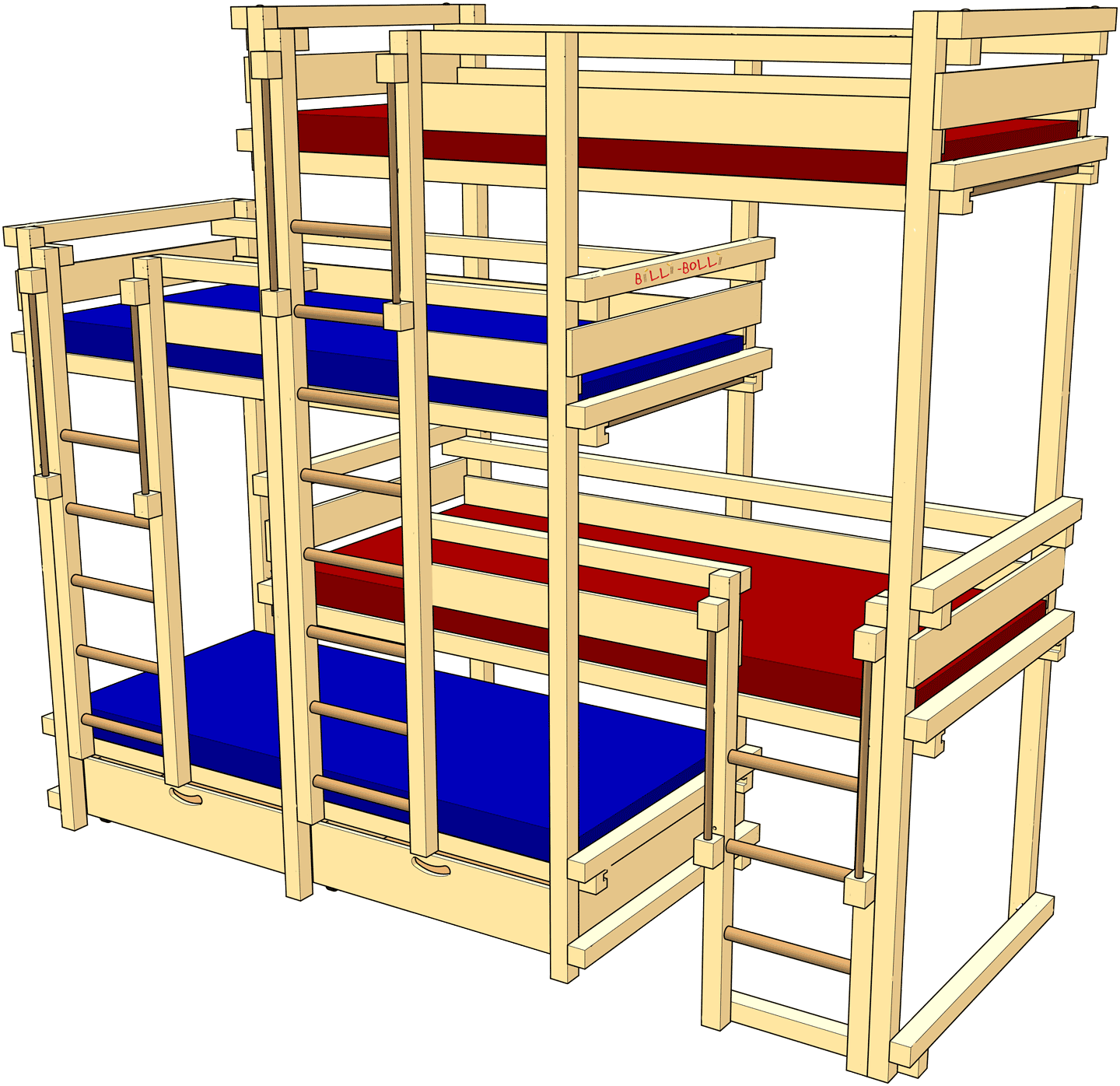 bed laterally staggered for four