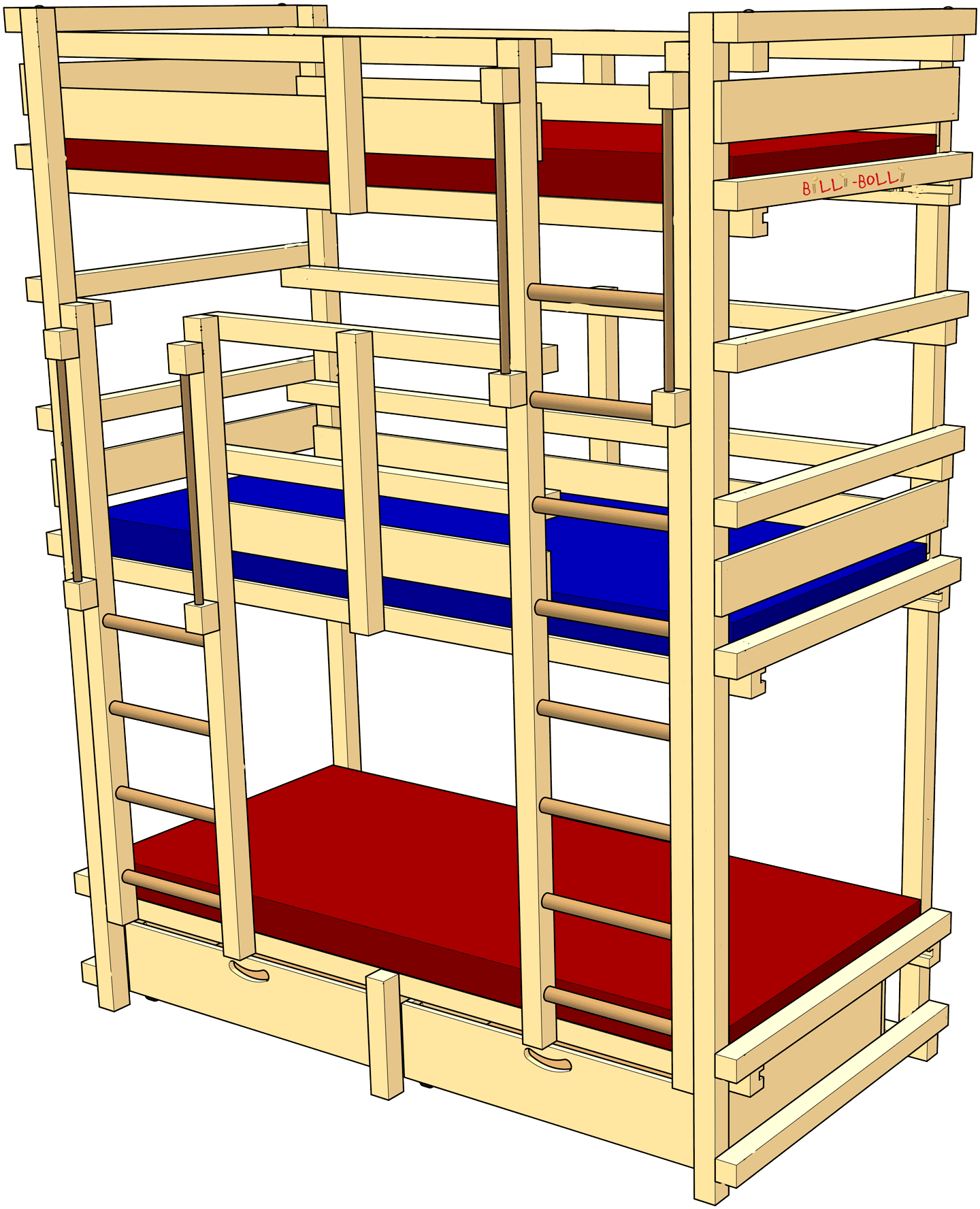 Skyscraper Bunk Bed for three kids (Kids' Beds)
