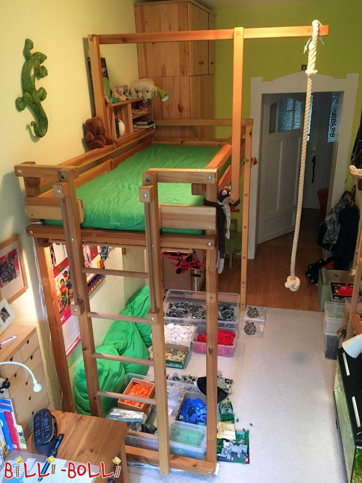 2 x Loft bed growing with 90 x 200 cm, pine oil waxed (second hand loft bed)