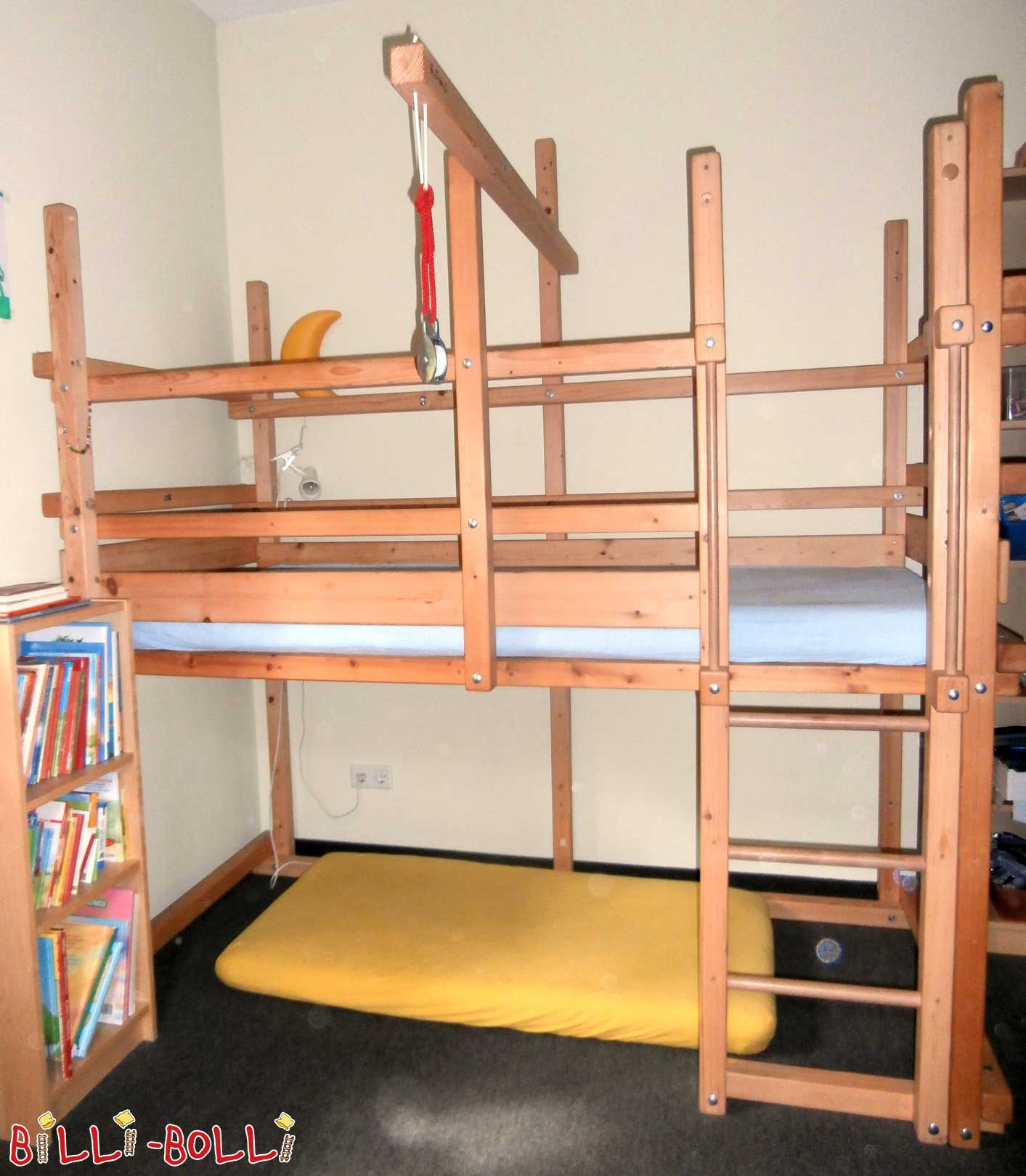 3 x Loft bed growing with 90 x 200 cm spruce, oil waxed (second hand loft bed)