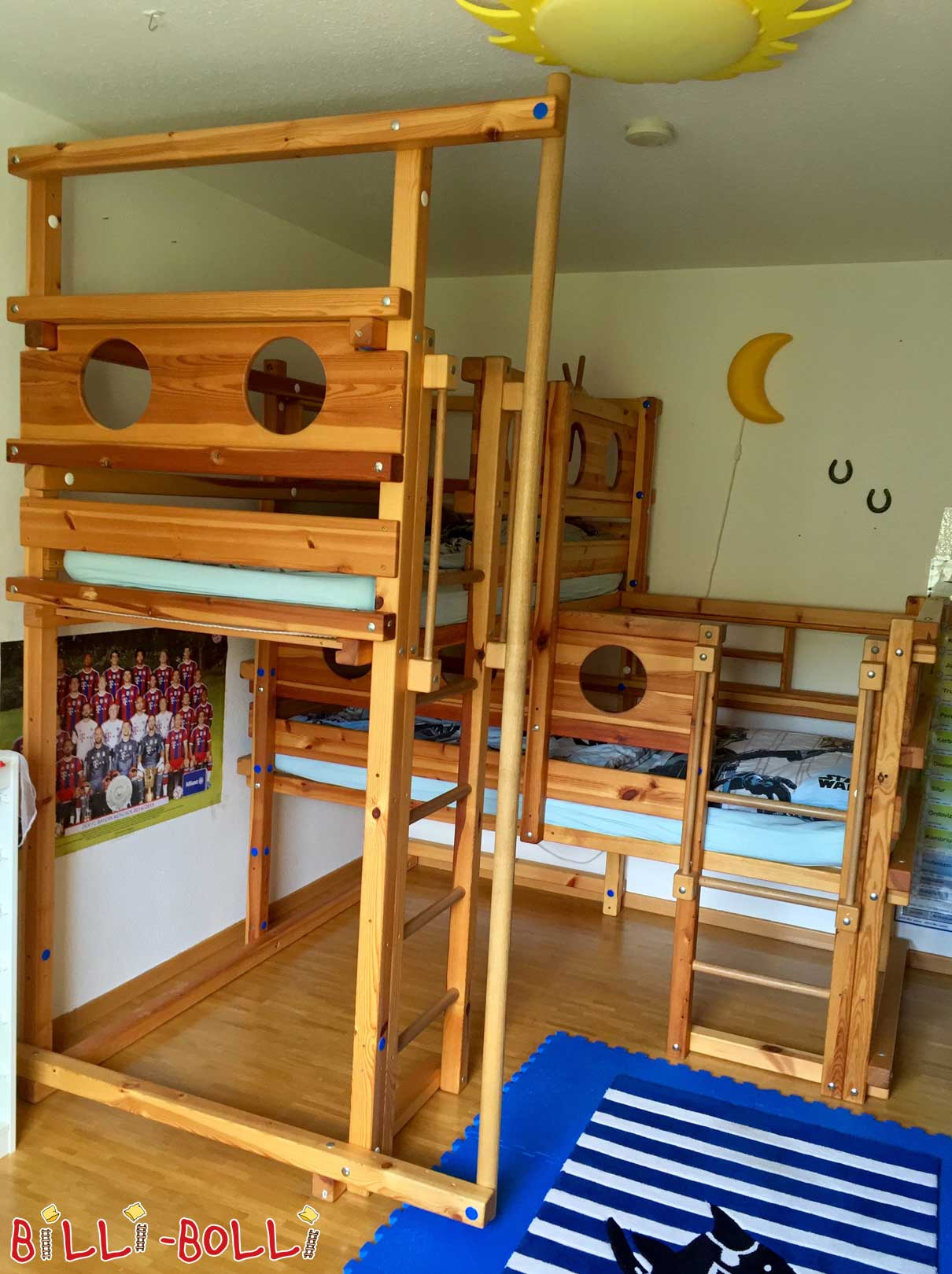 Both-up-bed-1 as type 1A, 90 x 200 cm, pine oil waxed (second hand baby crib)