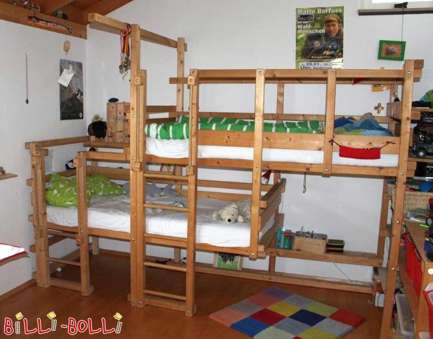 Both-top bed, 90 x 200 cm, spruce untreated (second hand adventure bed)