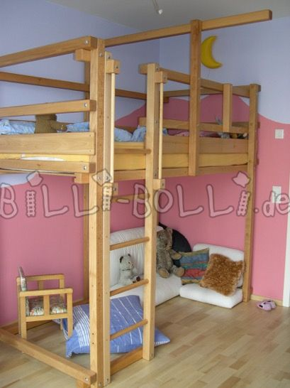 Billi-Bolli adventure high bed beech oiled 100 x 200cm (second hand loft bed)