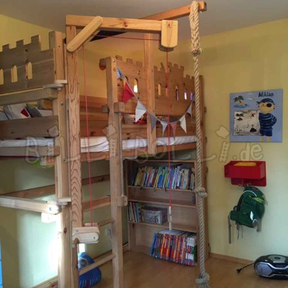 Cheap Bolli adventure bed including accessories, jaw untreated (second hand loft bed)