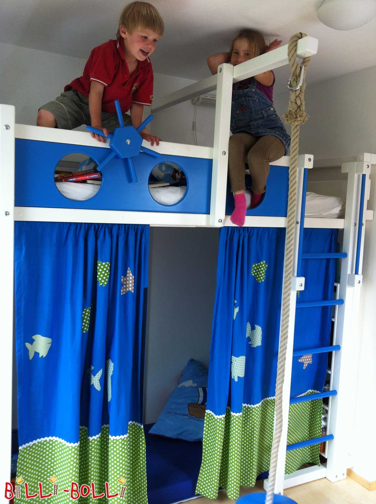 Billi-Bolli adventure bed growing with 90 x 200 cm pine white / blue (second hand loft bed)