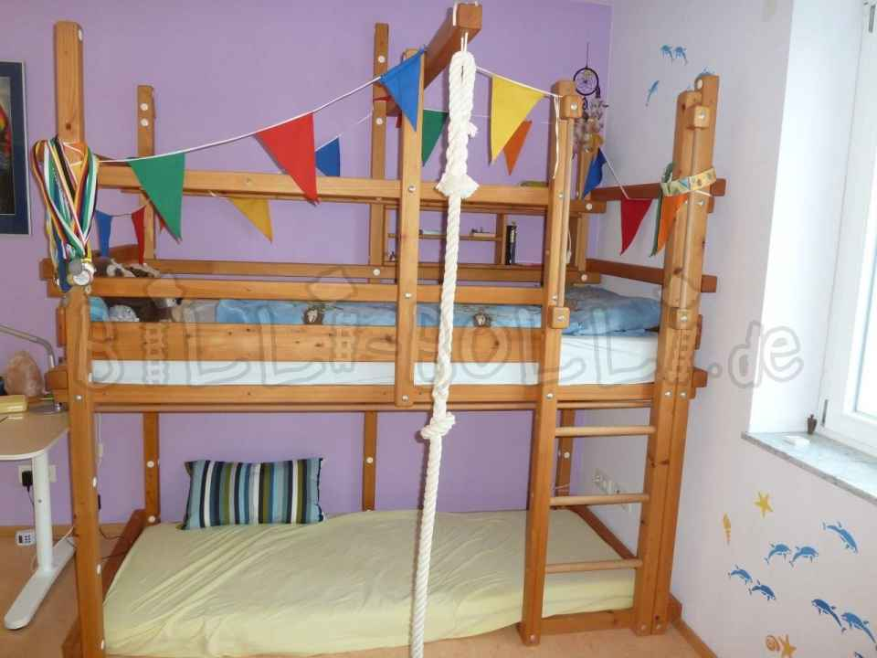 Cheap Bolli adventure high bed, 90 x 200 cm, spruce oil-waxed (second hand loft bed)