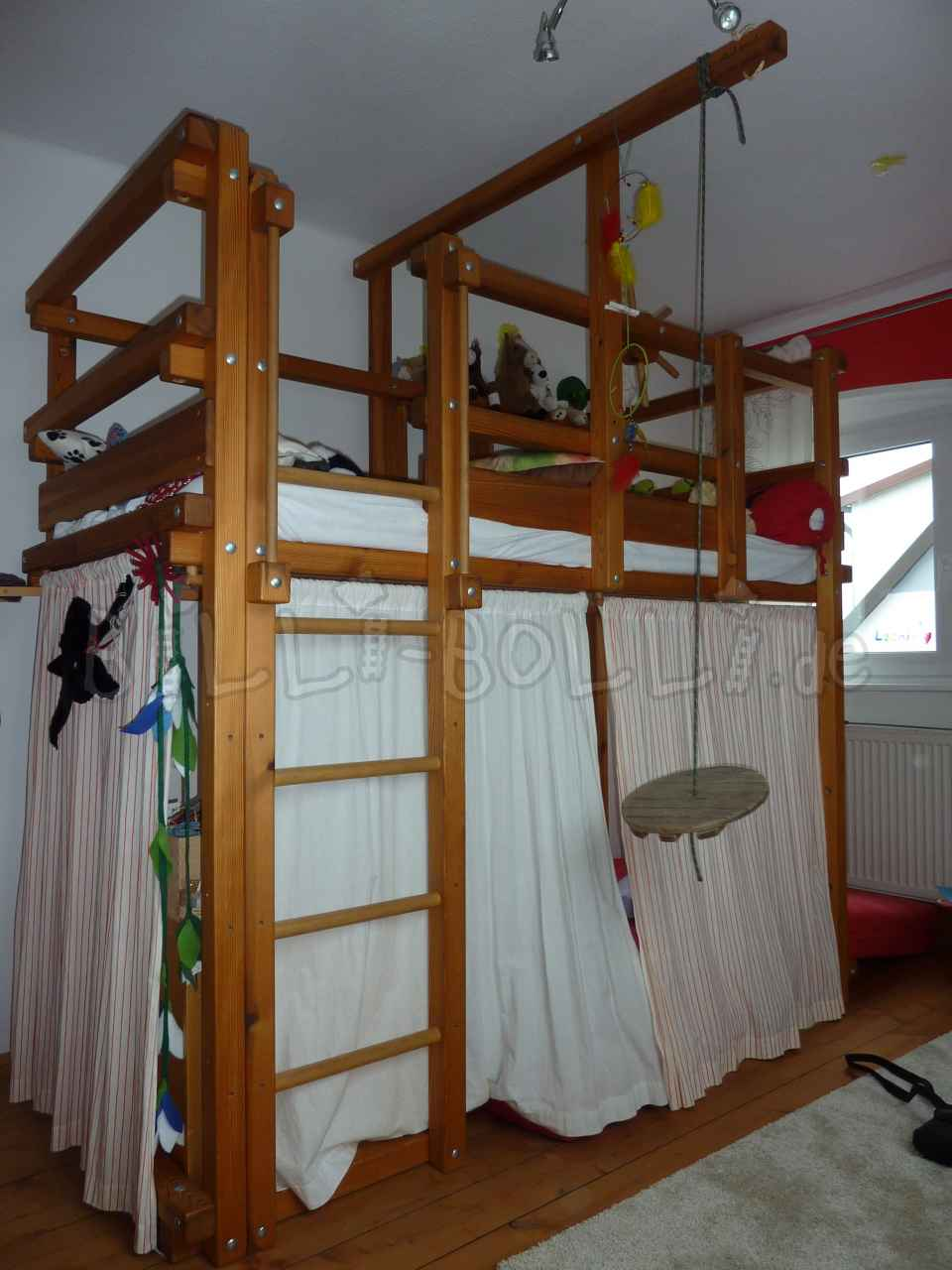 Cheap Bolli adventure high bed, 90 x 200 cm, pine oil-waxed (second hand loft bed)