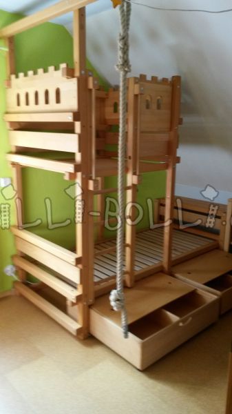 Billi-Bolli sloping bed Ritterburg oiled in beech (90x200 cm) (second hand kids' bed)
