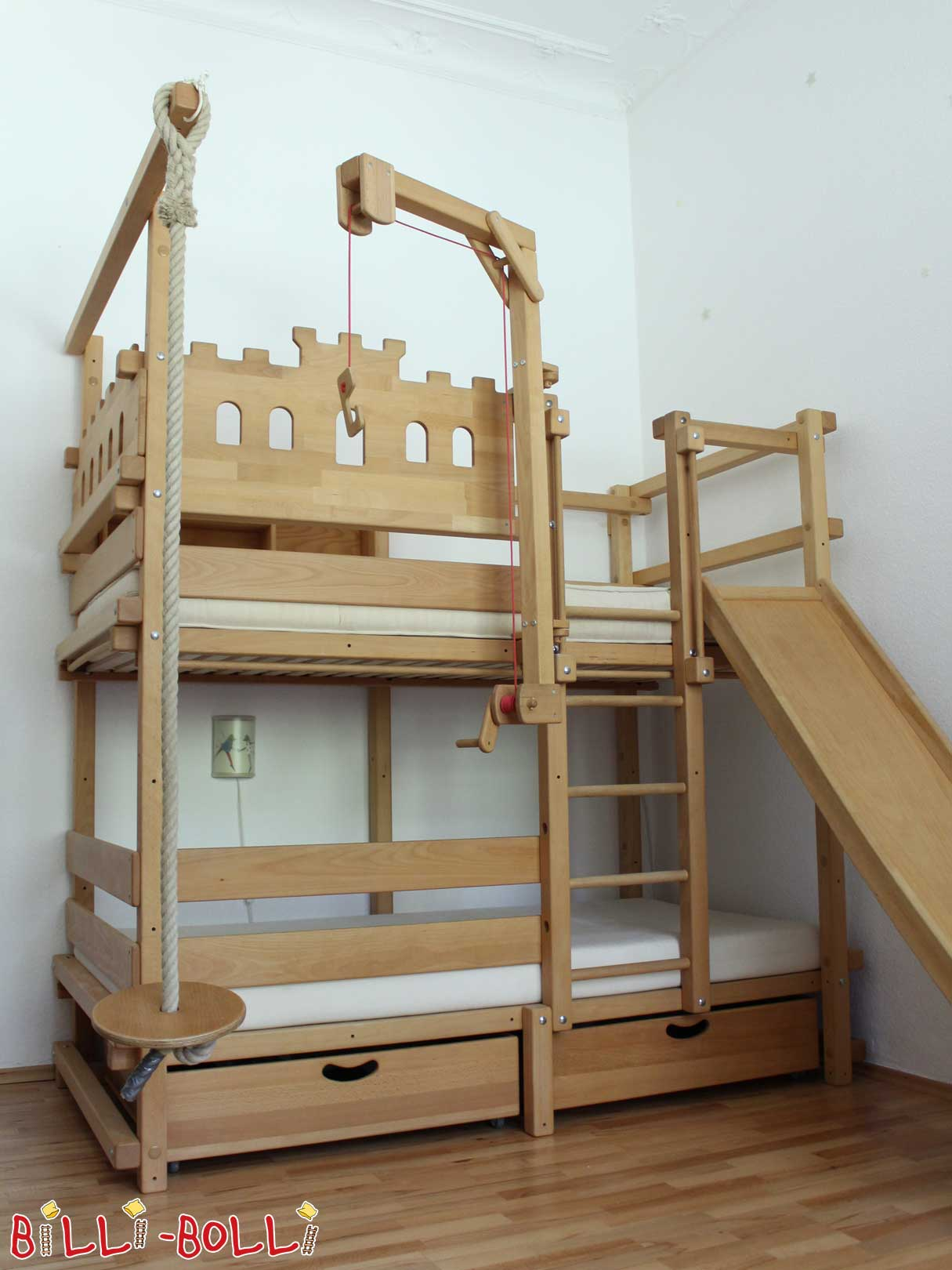 Billi-Bolli bunk bed, 100 x 200 cm, beech with oil wax treatment (second hand bunk bed)