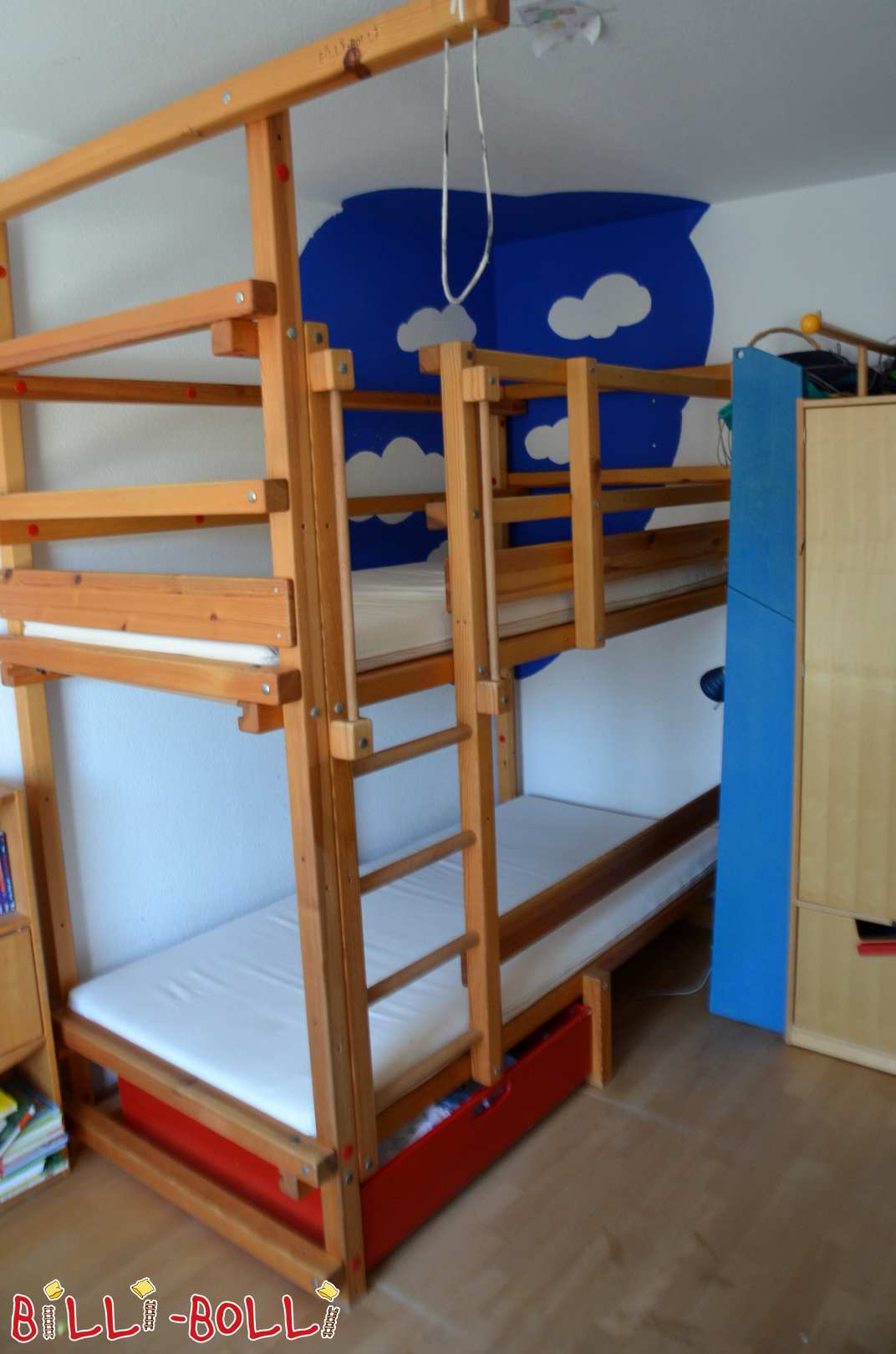 Billi Bolli bunk bed 90x200, pine oiled (second hand bunk bed)