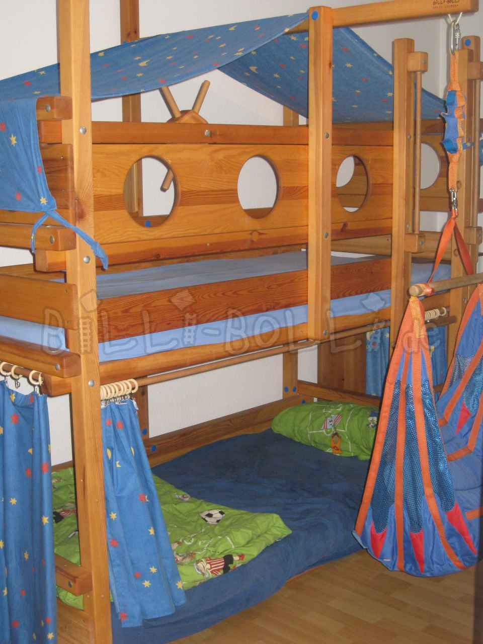 Billi-Bolli bunk bed, pine, honey-coloured oiled, 90 x 200 cm (second hand loft bed)