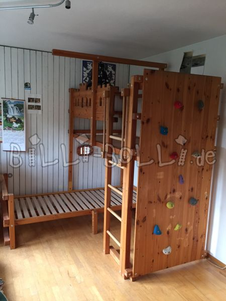 Billi Bolli bunk bed waxed over corner, pine oiled (second hand bunk bed)