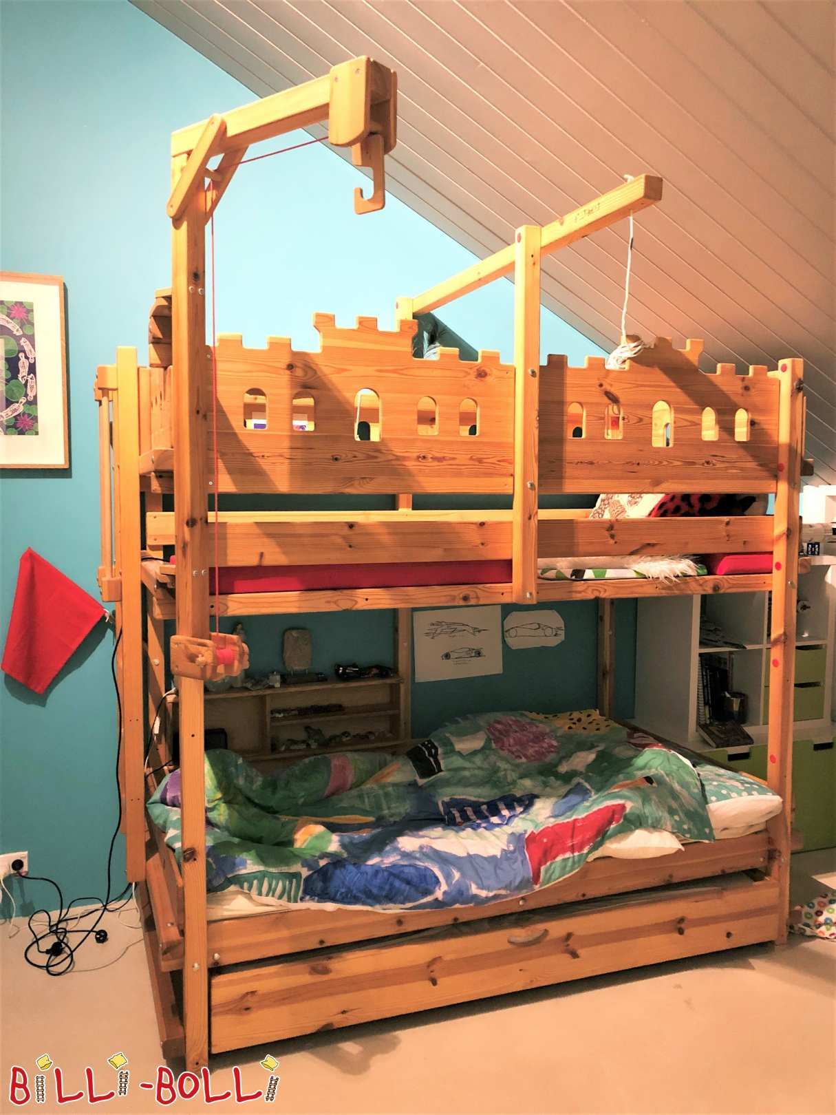 Bunk Bed in Melbourne (Australia), pine oil-waxed, 100 x 200 cm (Meuble enfants seconde-main)
