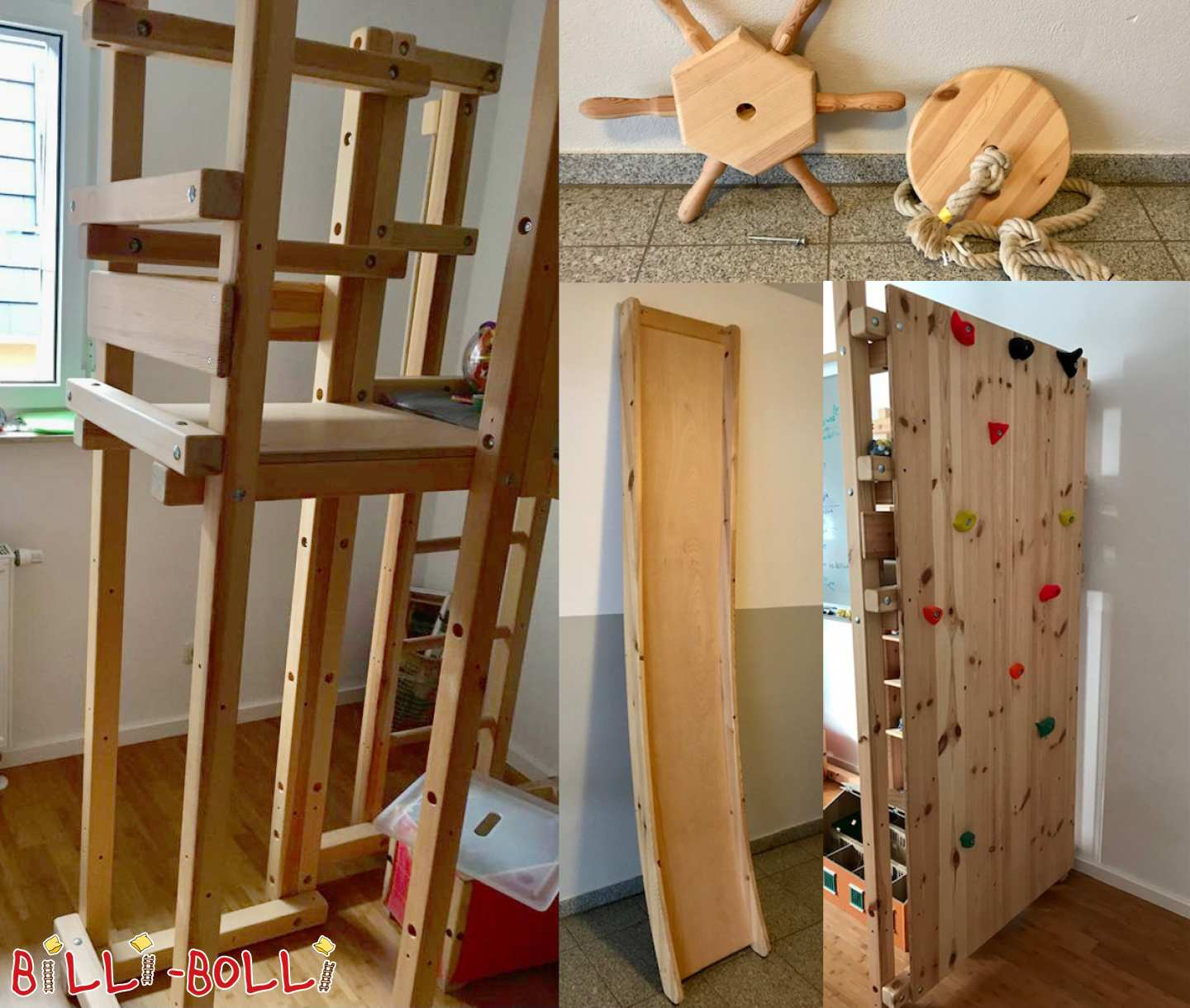 Various accessories made of pine in Jena (slide for loft bed)