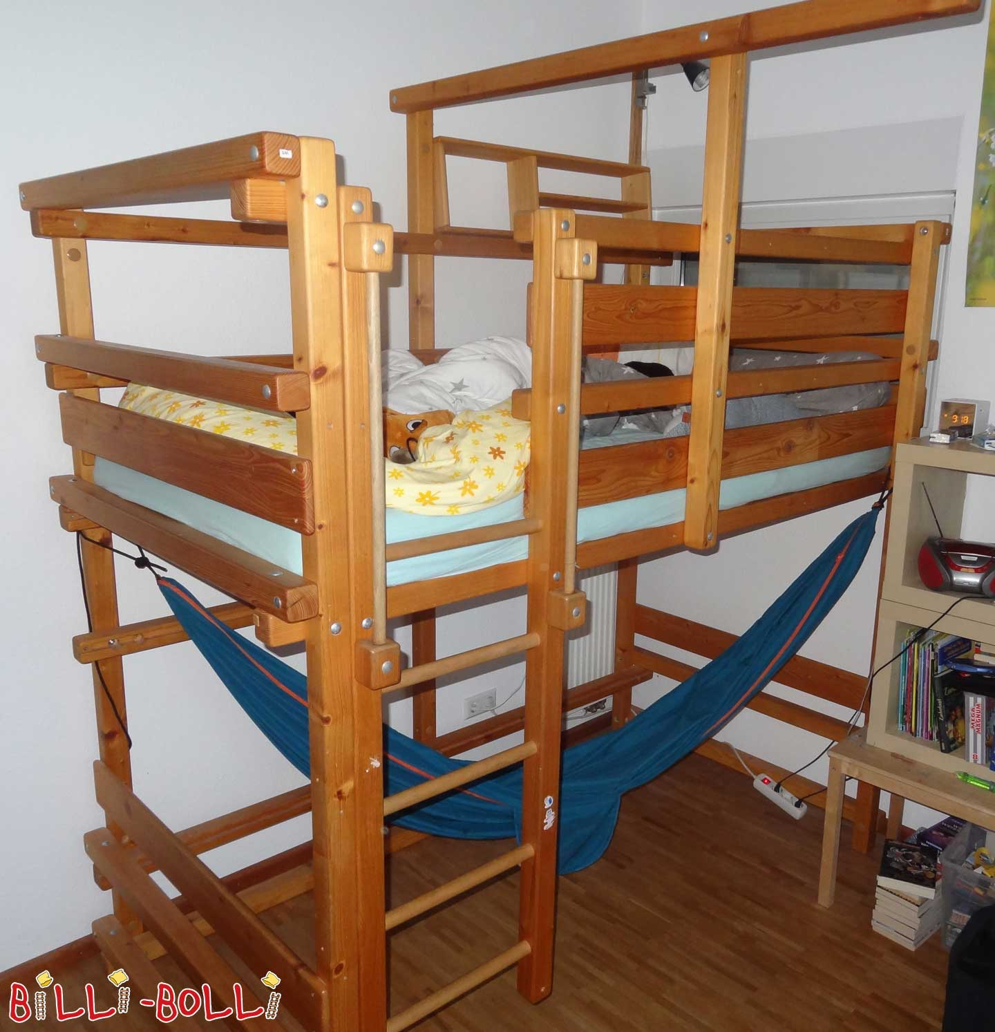 Bunk bed, 100 x 200 cm, spruce oiled waxed (second hand loft bed)