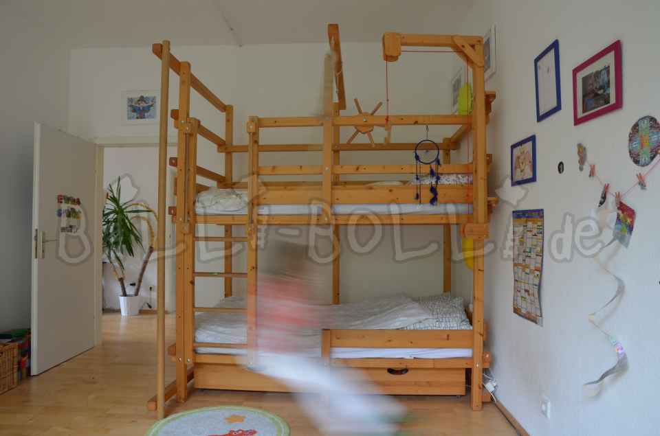Bunk bed 100 x 200 cm, spruce oiled (second hand bunk bed)