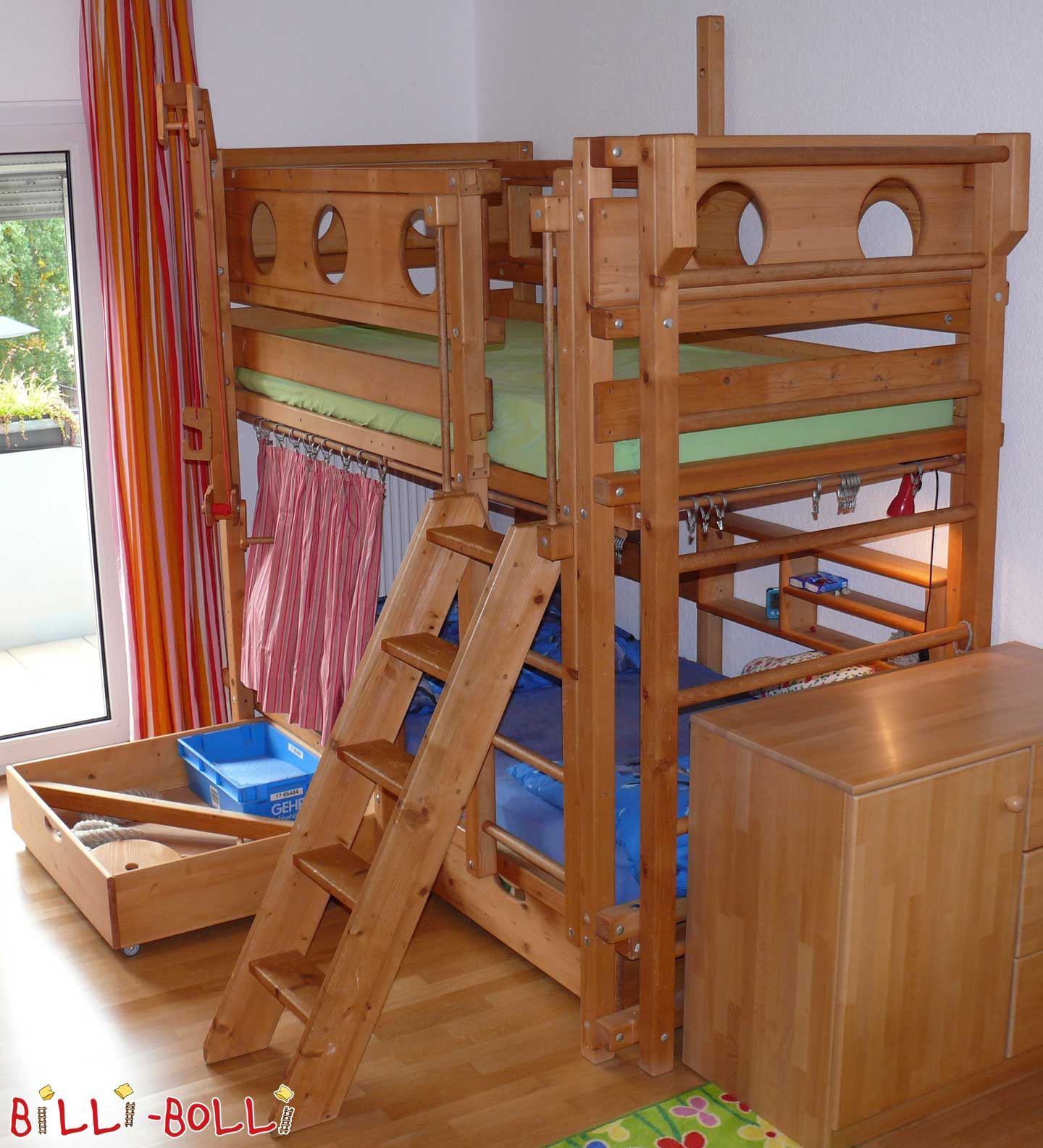 Bunk bed, 100 x 200 cm, spruce coloured oiled (second hand bunk bed)