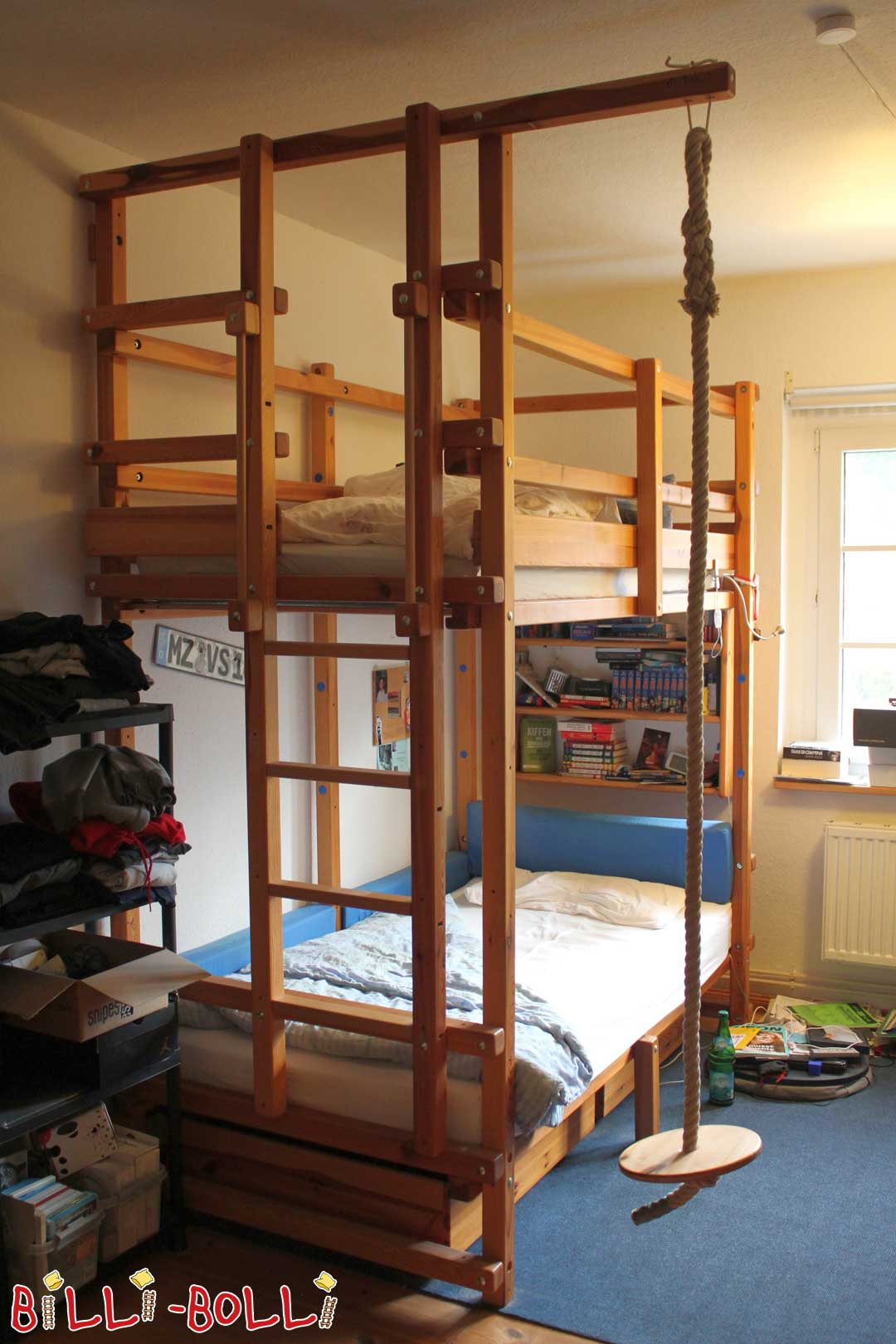 Bunk bed, 100 x 200 cm, pine oil-waxed (second hand bunk bed)