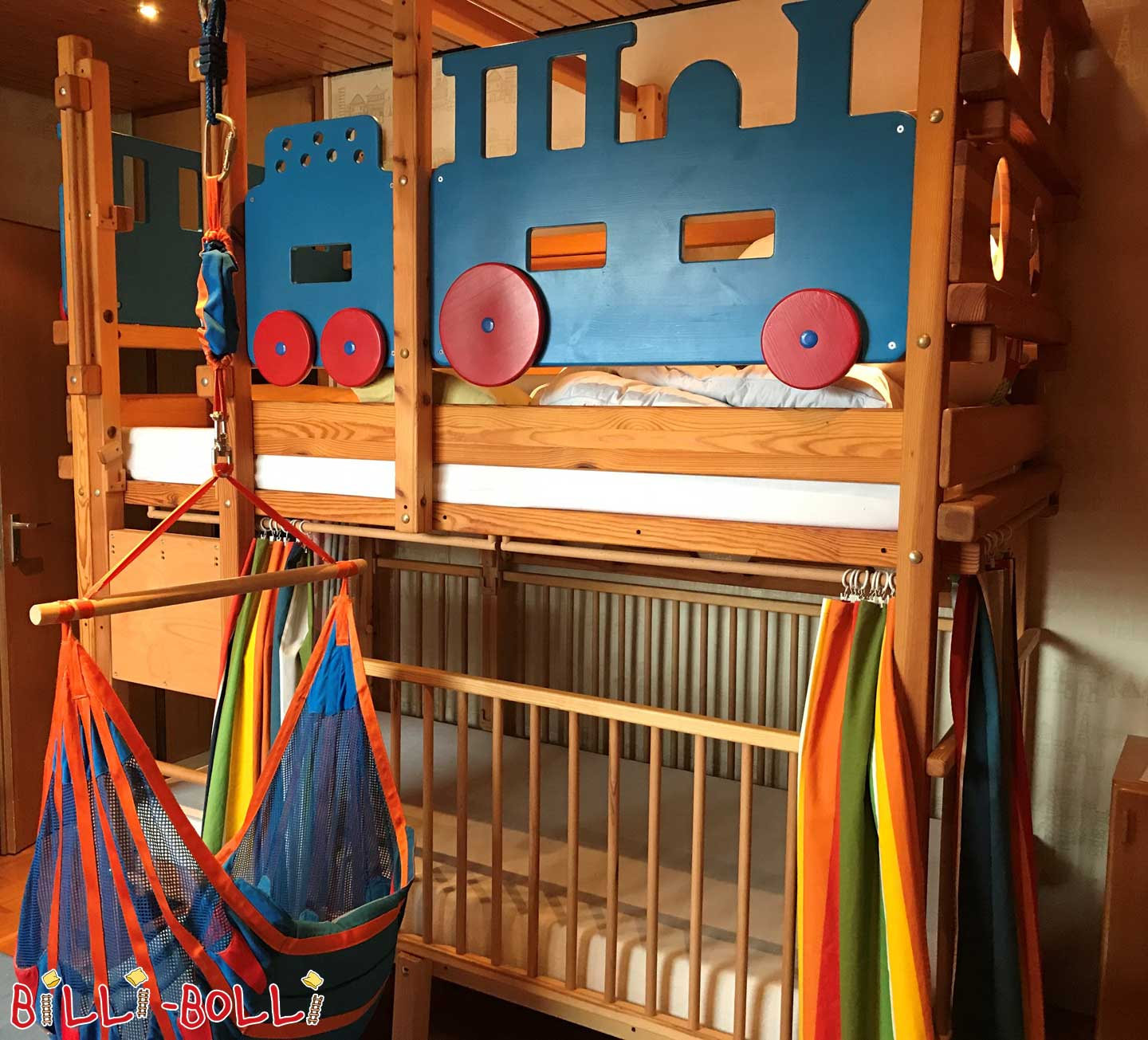 Bunk bed, 100 x 200 cm, pine oil-waxed (second hand loft bed)